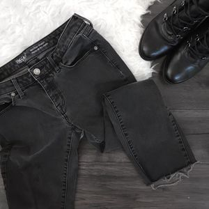 Mossimo Washed Black Raw Hem Ankle Crop Jeans